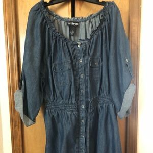Denim knee length dress
